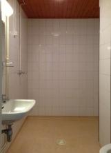 Tilava kylpyhuone pesukoneliitännällä. Suihku oikealla kulman takana