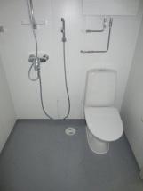 Ovelta oikealla suihku, johon kuuluu suihkuverhotanko