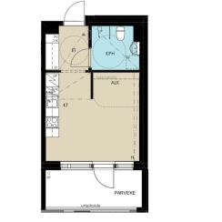 Pohjapiirustus 26 m2 + lasitettu parveke